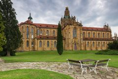 Monastery. Czech monastery garden and seating area Royalty Free Stock Photo