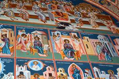 Thematic orthodox icons. Saint Anna-Rohia monastery, situated in a natural and isolated place, in Maramures, Transylvania Stock Image