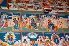 Nice orthodox icons. Saint Anna-Rohia monastery, situated in a natural and isolated place, in Maramures, Transylvania Royalty Free Stock Images