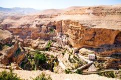 Monastery in desert. Landsape of monastery in Judea desert in Palestine Royalty Free Stock Photos