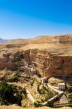 Monastery in desert. Landsape of monastery in Judea desert in Palestine Stock Images
