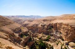 Monastery in desert. Landsape of monastery in Judea desert in Palestine Royalty Free Stock Photo