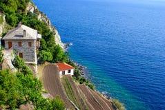 Monastery Dionisiou on Mount Atho stock photos