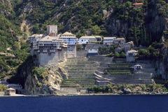 Monastery Dionysiou at Mount Athos. Monastery Dionysiou on peninsula Mount Athos in Greece Royalty Free Stock Photography