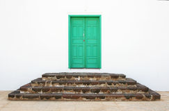 Monastery Door. A small green door to a monastery in Teguise, Lanzarote Stock Image