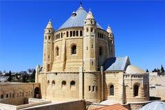 Monastery the Dormition in Jerusalem. Dormition abbey and Monastery on Mount Zion in Jerusalem Stock Photos