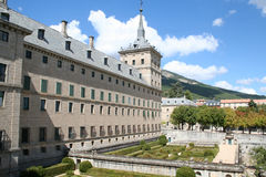 The Monastery El Escorial. The Royal Monastery El Escorial, Spain. East facade and the gardens seen from the king's rooms Royalty Free Stock Photo