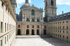 Monastery El Escorial, Spain. The Royal Monastery El Escorial, Spain. The Courtyard of the Kings from the windows of the Royal Library Royalty Free Stock Photo