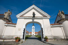 Monastery entrance. Entrance to Camaldolese Monastery in Wigry, Poland Royalty Free Stock Photo