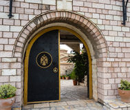 Monastery Entrance. A metal door entrance of a monastery Royalty Free Stock Photos