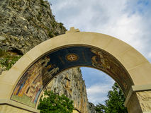 Monastery entrance. The entrance of Ostrog Monastery in Montenegro, a monastery excavated in the rock Royalty Free Stock Image