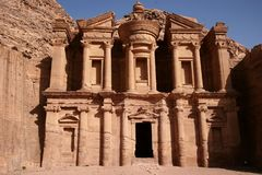 Monastery Facade in Petra Royalty Free Stock Photos