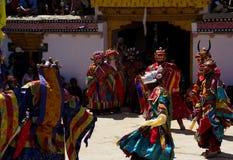 Monastery festival masked dancers. Festival at the Sani monastery in Zanskar stock photography