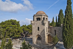 The monastery on the filerimos. Filerimos is a hill of 267 meters high 15 kms away from the city of rhodes, image is shot when we vacationed in rhodes, autumn royalty free stock image