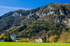 Monastery in the foothills of the limestone Alps Stock Photos