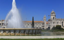 Monastery and Fountain. Monastery of the Hieronymites and Fountain, Belem, Lisbon Royalty Free Stock Image