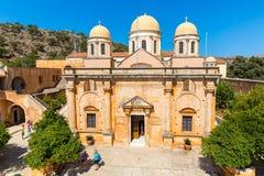 Monastery (friary) in Messara Valley at Crete, Greece. Stock Photo