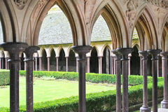 The monastery garden in the abbey of Mont Saint Michel. Normandy, France Royalty Free Stock Photography