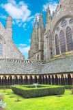 The monastery garden in the abbey of Mont Saint Michel. Royalty Free Stock Photos