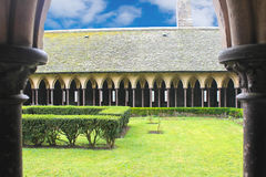 The monastery garden in the abbey of Mont Saint Michel. stock photo