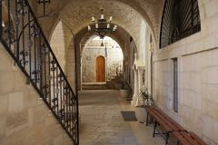 Monastery. Greek Christian orthodox monastery of St. George, along the canyon of WadinQelt, Israel. St. George Orthodox Monastery, or Monastery of St. George of Stock Photography