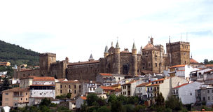 Monastery of Guadalupe, Spain. A view to the monastery and the city Royalty Free Stock Images