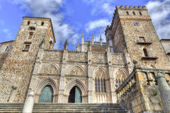 Monastery of Guadalupe from town place, Spain Royalty Free Stock Images