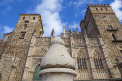 Monastery of Guadalupe from town place, Spain Stock Photography
