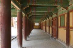 Monastery hallway. Buddhist monastery hallway with columns stock photos