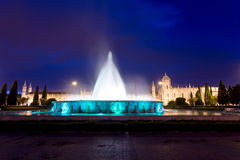 Monastery of the Hieronymites and fountain at night Stock Images