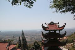 Buddhist Pagoda at the top of the mountain stock photo