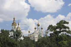 Monastery on the hill against the blue sky. Pokrovsky Monastery on the hill against the blue sky  in summer royalty free stock image