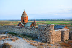 Monastery at the hill of Khor Virap Royalty Free Stock Photos