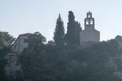 The monastery on the hill near the Petrovac in Montenegro Royalty Free Stock Photography