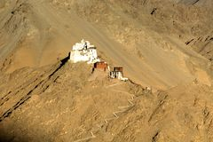 A monastery on the hilltop of Leh town called Namgyal zemo. The monastery Namgyal zemo looks wonderful during the sunset on the hill top. The shot was taken from stock photos