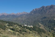 Monastery in the himalayas. Monastery near tawang nestled in high peaks Stock Photo