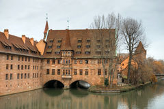 Monastery Holy Spirit Hospice. On the river bank and bridge in Nuremberg, Germany Royalty Free Stock Images