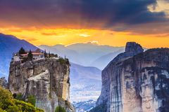 Monastery of the Holy Trinity i in Meteora, Greece. Monastery of the Holy Trinity on cliff. Greek destinations. The Meteora monasteries, Greece Kalambaka. UNESCO royalty free stock images