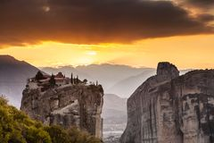 Monastery of the Holy Trinity i in Meteora, Greece stock photography