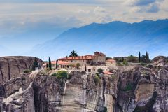 Monastery of the Holy Trinity i in Meteora, Greece royalty free stock photos