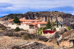 Monastery of the Holy Trinity in Meteora, Greece stock photography