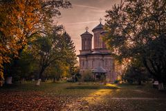 Monastery In A Beautiful Autumn Landscape Stock Photo