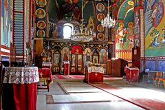Monastery interior. Serbian Orthodox monastery interior stock photos