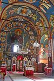 Monastery interior. Interior view of Serbian orthodox Monastery stock images