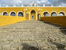 Monastery of Izamal Front Entrance. Photo of the front entrance of the monastery of izamal in izamal yucatan mexico.  This monastery is the main church and Royalty Free Stock Photo