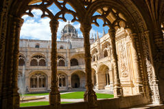Monastery of jeronimos in Belem, Portugal. View from the gallery into the courtyard of the monastery Stock Photography