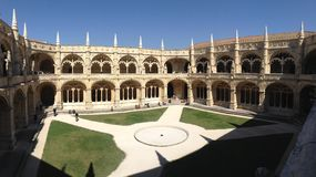 The Monastery of the Jeronimos. View of the cloister in the Monastery of the Jeronimos, Lisbon, Portugal Royalty Free Stock Image