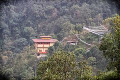 Monastery in the jungle. A large Buddhist  monastery in surrounded by a dense jungle on the hill slope. Several prayer flags are are hanging in the surrounding Stock Images