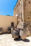 Monastery and jvase jug pitcher in Crete island in Greece. Royalty Free Stock Photography