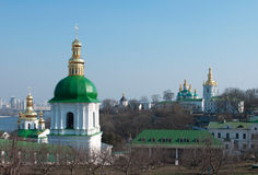 Monastery in Kiev under river Dnieper Stock Images